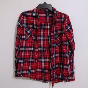 Forever 21 Red Flannel Plaid Button Up Shirt M
